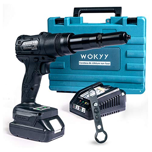 "Wokyy 18V Cordless Blind Rivet Gun Tool Kit with Battery & Charger, 2023lbs Electric Automatic Brushless Riveter with Nose Pieces for 3/32"", 1/8"", 5/32"", 3/16"" Stainless Steel, Steel, Aluminum Rivets"