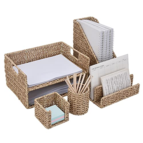 StorageWorks Hand-Woven Imitation Wicker Desk Organizer, Set of 5 Office Desk Accessories with Magazine Holder, Paper Tray, Letter Sorter, Pen Cup and Sticky Note Holder, Shortbread Yellow