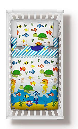 Duvet Cover + Pillowcase 90 cm x 120 cm Bedding Set Sea Life Animals to fit cot 60x120 cm (90x120 cm)