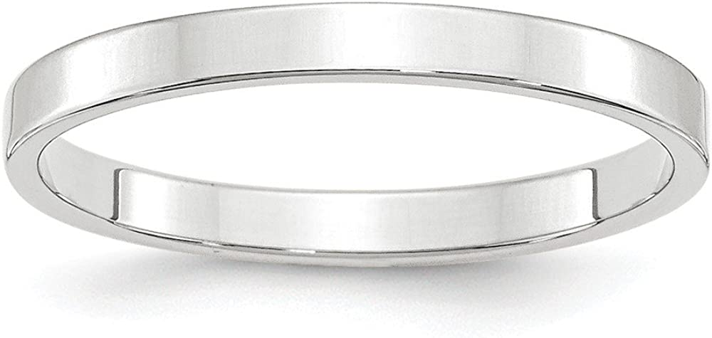 10 White Gold 2.5mm Flat Wedding Ring Band Size 8 Classic Fashion Jewelry For Women Gifts For Her