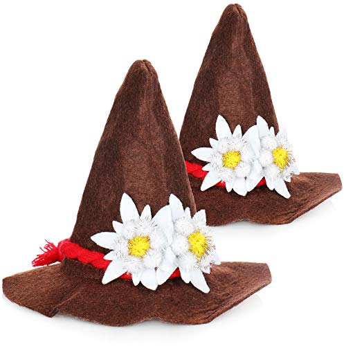 com-four® 2x Mini-Seppelhut mit Haarspange - Kopfschmuck für Oktoberfest - Mini Trachtenhut in Einheitsgröße