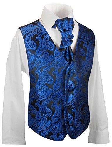 Festliches Jungenwesten Set 3tlg mit Hemd und Plastron blau schwarz Paisley 86-92 (1 Jahr)