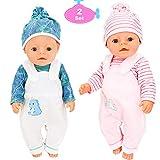 Toploar 2 Set Puppenkleidung Zubehör, Babypuppen Kleidung Outfits, Handmade Casual Jumpsuit Accessor mit Mütze für 18 Zoll American Girl Puppe Dolls, 43 cm Neugeborene Babypuppen, Geburtstag