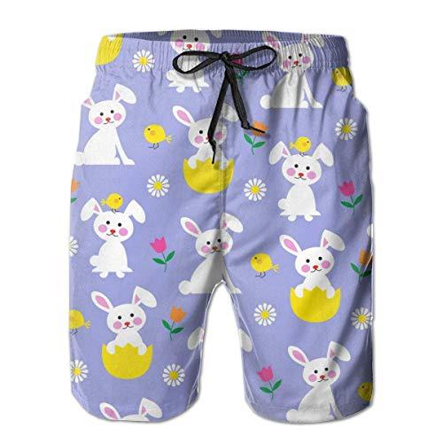 ZQHRS Coniglietto Pasquale e Pulcino Quick Dry Elastic Boardshorts Beach Shorts Pantaloni Swim Trunks Costume da Bagno Uomo con Tasche Taglia L