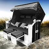 BRAST Strandkorb Ostsee 3-Sitzer 160cm breit Anthrazit Grau gestreift XXL Volllieger incl. Schutzhülle Gartenliege Sonneninsel Poly-Rattan