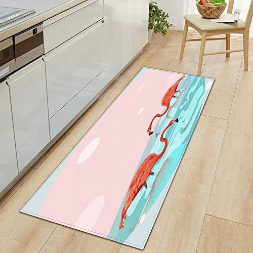 HLXX Alfombrilla con Estampado de flamencos 3D, Felpudo para Puerta de Entrada, Alfombrilla para Suelo, Alfombra de Cocina, alfombras para niños para habitación, Alfombra A19, 60x180cm