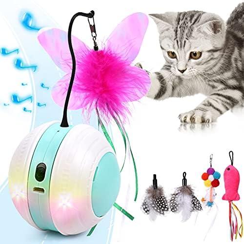 Bola con Sonido de pájaro, autodesplazamiento de 360 Grados, con luz LED recargable USB