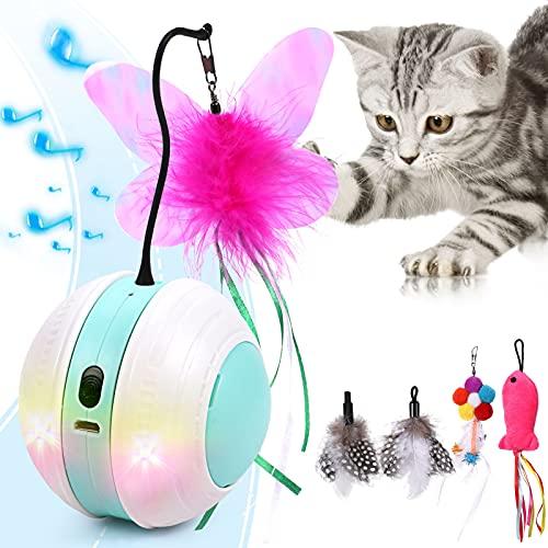 Interaktives Katzenspielzeug Elektrisch Katzenball Katzenspielzeug Ball Spielzeug für Katzen mit buntes LED-Licht, selbstdrehender 360-Grad-Ball, quietschendem Vogelklang