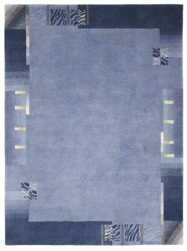 Luxor Living Nepal Teppich handgeknüpft blau Größe auswählen 70 x 140 cm