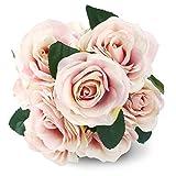 Fleurs Artificielles French Roses Rose SOLEDI 10 Têtes Fleurs Mélangés pour Bouquet De Mariée Mariage Salon Table Maison Jardin Décoration