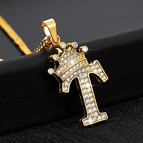 Mini Corona Inicial Letras Collares de Cadena Colgante para Hombres Mujeres Cadena de Oro cúbico Hip Hop Encanto joyería Regalos