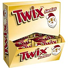 Contains one (1) 24-count pack of 1.06-ounce Santa-shaped TWIX Holiday Caramel Chocolate Cookie Bars Each TWIX Cookie Bar is shaped like Santa Claus Filled with holiday cheer and delicious flavor, these tasty candy bars are great stocking stuffers Th...