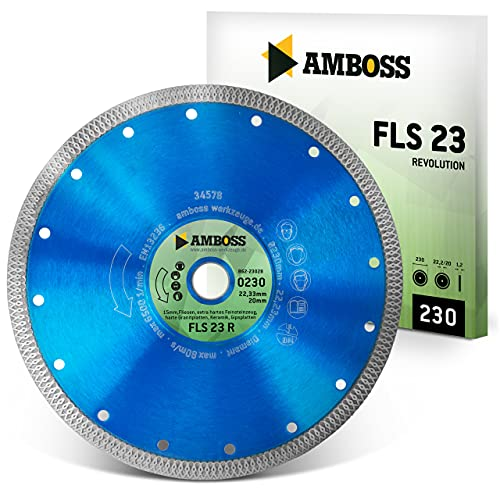 Amboss FLS 23R - extra dünne Diamant-Trennscheibe (2 mm) - Fliesen/extra hartes Feinsteinzeug/harte Granite/Keramik - Segmenthöhe: 10 mm (Ø 230 mm x 22,2 mm x 10mm Diamantbelag)