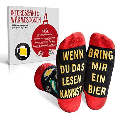 EYNOCA Lustige Bier Socken Geschenke für Männer Frauen - Weihnachtssocken, Geburtstagsgeschenk, Witzige Nikolaus Geschenke | Wenn Du Das Lesen Kannst Bring Mir Ein Bier…