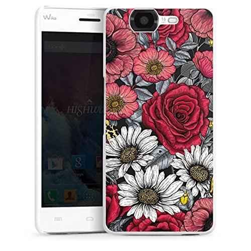 DeinDesign Hard Hülle kompatibel mit Wiko Highway Schutzhülle weiß Smartphone Backcover Blumen Rose Sommer