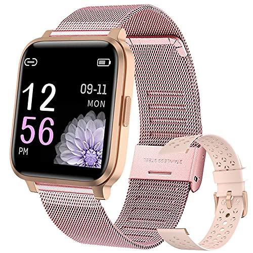 Smartwatch Mujer Hombre Reloj Inteligente IP68 con 17 Modos de Deporte, Pulsómetro, Monitor de Sueño, Notificaciones Inteligentes, 1.3 Pulgadas Pantalla Táctil Completo Smartwatch (Rosado)