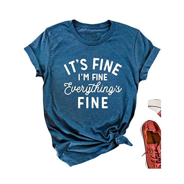 Mahrokh Its Fine Im Fine Everythings Fine Tshirt Women Inspirational T Shirts Short...