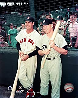 New York Yankees Mickey Mantle and Boston Red Sox Ted Williams Together at Fenway Park 8x10 Photograph (color)