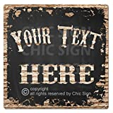 Name's Your Text Here Custom Personalized Tin Chic Sign Rustic Vintage Style Retro Kitchen Bar Pub Coffee Shop 12'x 12' Metal Plate Sign Home Store Man cave Decor Gift Ideas (Aluminum Sign, 12 x 12)
