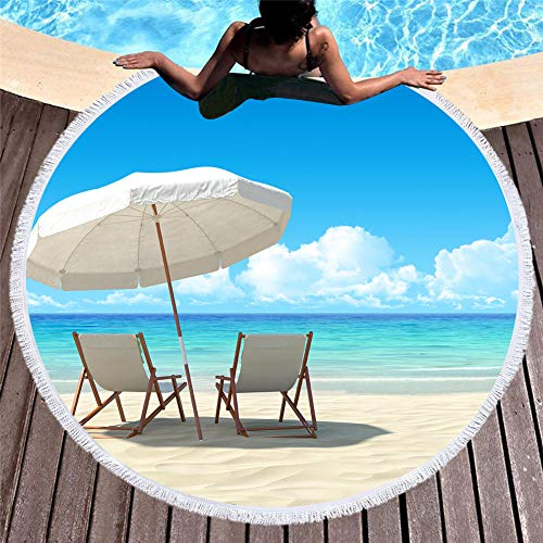 Strandhanddoek, zacht, absorberend, grote badhanddoek, badmat, strandmat, voor picknicks, hemelsblauw 150 cm en wolken Bianche