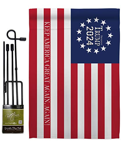 Trump Flag Keep America Again 2024 Garden Flag-Set with Stand Patriotic Vote President Democrat Republican Tea Party United State American Election House Yard Gift Double-Sided, Made in USA