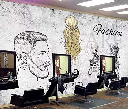 Gewohnheit 3D Wallpaper Wandbilder Europa und den Vereinigten Staaten Retro Cement Wand Trend Barber Shop Online-Hintergrund-Wand, 300 * 210cm