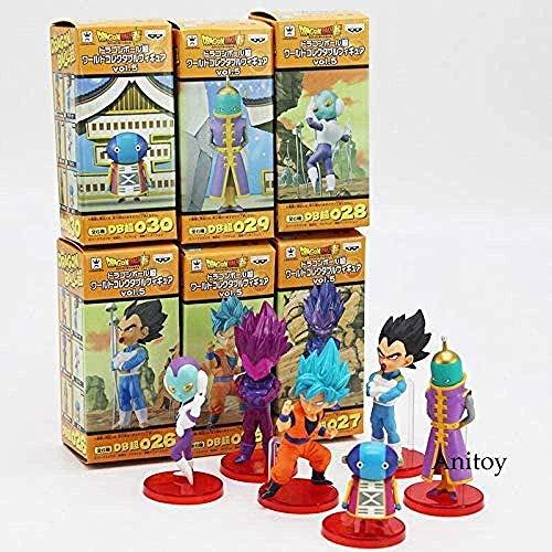 ZYBZGZ Dragon Ball Super Vol.9 Super Saiyajin Gott Super Goku Vegeta Grünkohl Frieza Sohn Gohan Jiren PVC Figuren Spielzeug 6 Stück/Set