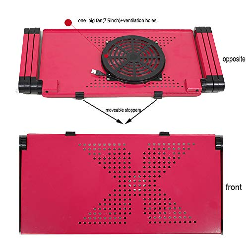 Laptop Desk for Bed and Couch, Portable Adjustable Laptop Stand with Big CPU Cooling Fan and Mouse Pad, Ergonomics Aluminum TV Bed Lap Tray up to 17in, Rose Red Photo #5
