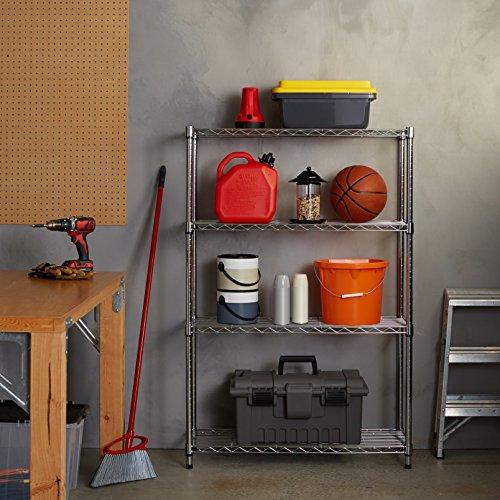 AmazonBasics 4-Shelf Adjustable, Heavy Duty Storage Shelving Unit (350 lbs loading capacity per shelf), Steel Organizer Wire Rack, Chrome (36L x 14W x 54H)