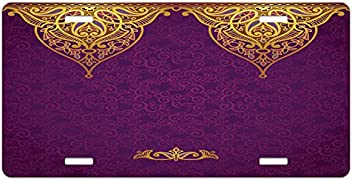 Ambesonne Eastern License Plate High Gloss Aluminum Novelty Plate 5.88 X 11.88 Multicolor Traditional Floral Pattern Colored with Watercolor Effects Art