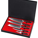 Chef Knife Set Professional 5 Pcs - Yarenh Kitchen Knife Set - Japanese Damascus Stainless Steel Blade - Dalbergia Wood Handle - Gift Box Packaging - Sharp Sushi Knife Sets KTF-Series