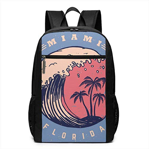 TRFashion Rucksack Miami Poster Template with Lettering and Palms Fashion Student Outdoor Backpack 17in Teens Bookbags Travel Laptop College Business Daypack Schoolbag Book Bag for Men Women Black
