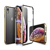 【YMXPY】 iPhone XR ケース 前後両面ガラス付き アルミバンパーカバー 【360° フルボディ全面保護】【16ヶ所マグネット式メタルフレーム】【ワイヤレスチャージ対応】 (iphoneXr, 金×金・表面ガラス付き)