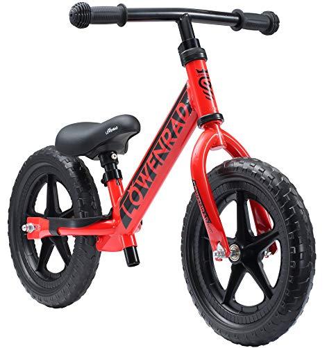 """LÖWENRAD Bicicleta sin Pedales para niños y niñas a Partir de 3 - 4 año, Bici 12\"""" Ligero (3KG) con sillín y manubrio Regulable, Rojo"""
