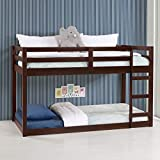 Twin Over Twin Bunk Bed Frame for Kids, Pine Wood Twin Bunk Bed for Boys and Girls, Low Bunk Bed, 13 Slats, Espresso