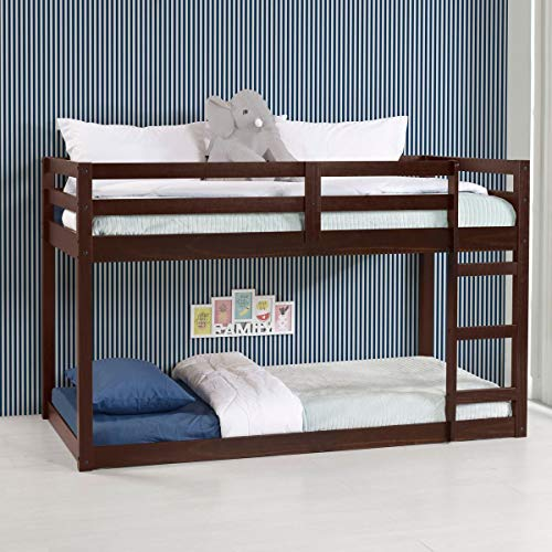 Harper & Bright Designs Twin Over Twin Bunk Bed Frame for Kids, Pine Wood Twin Bunk Bed for Boys and Girls, Low Bunk Bed, 13 Slats, Espresso