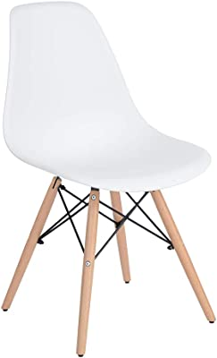 Homy Casa Inc Set of 4, Modern Mid-Century Side Mental Legs for Kitchen, Living Room dining chair, White