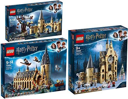 LEGO® Harry Potter 3er Set 75948 75953 75954 Hogwarts™ Uhrenturm + Die Peitschende Weide von Hogwarts™ + Die große Halle von Hogwarts™