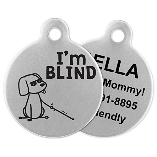 If It Barks - Engraved Pet ID Tags for Dogs - Personalized Stainless Steel Identification Tags - Custom Name Tag Attachment - Made in USA, I'm Blind