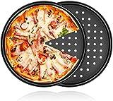 2Pcs 11' Pizza Pan Nonstick Coating Carbon Steel Perfect Results Non-Stick Crisper (10.5' valid dia, 11' full dia with rim)