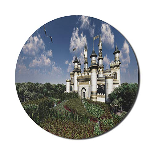 Ambesonne Fairy Tale Mouse Pad for Computers, 2 Bald Eagles Fly Over The Magnificent Royal Castle Surrounded by Gardens, Round Non-Slip Thick Rubber Modern Gaming Mousepad, 8' x 8', Multicolor