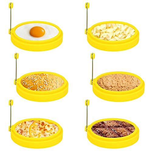 Laelr Ei Ring, 6 Pack Spiegeleiform für Bratpfanne Ei Ringe Silikon Pfannkuchenform Rund Omelett Form Für Eier Kochen - Gelb