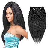 Jet Black African American Hair Piece Clip in Afro Hair Extensions Clip in Kinky Hair Clip in Hair...
