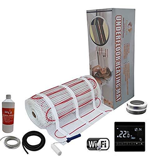 Nassboards Premium Pro - Kit Élite de Calefacción Eléctrica Por Suelo Radiante de 150 W - 2.5m² - Termostato Negro WiFi Inalámbrico