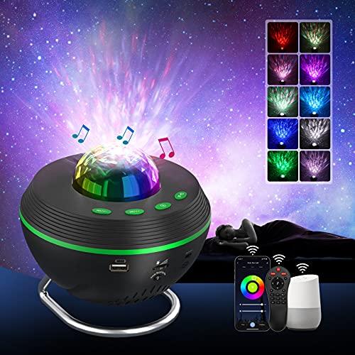 Lámpara Proyector Estrellas, Tasmor Smart WiFi Alexa Proyector Galaxia con Soporte, 10...