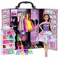 Ecore Fun Fashion 人形用クローゼットワードローブ 人形の服とアクセサリーの収納に - 52点のアイテム 服 ドレス 靴 バッグ ネックレス 靴ラック ハンガー 11.5インチ 女の子の人形用