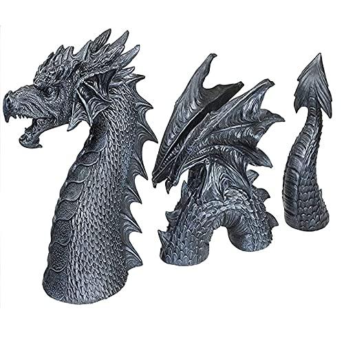 Decoração de esculturas de dragão Decoração de jardim de arte Decoração de dragão de fosso Estátua de animal de fantasia Estatueta de enfeites para pátio Jardim frontal gramado Decoração de jardim à prova d'água Resina presentes de Natal,Black