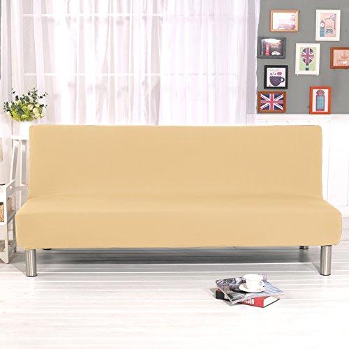 ele ELEOPTION Elastisch Sofa Überwurf Sofahusse Sofabezug für Schlafsofa Klappsofa faltbar Sofabett ohne armlehne Sessel und die Couch (Beige)