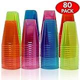 80 Neon Hart Einwegbecher aus Kunststoff - 210 ml - Starke und dauerhafte Partybecher, Schnaps...