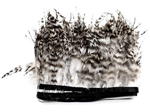 PANAX Echte Fasanenfedern auf 200cm Stoffstreifen - ca. 10-15cm Federnlänge - Ideal zum Basteln, Hüte, Fasching, Karneval, Dekoration, Theater.